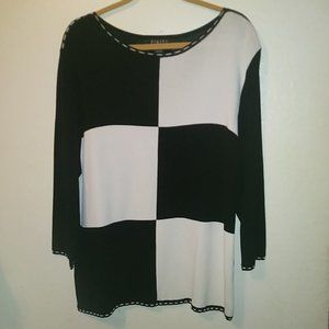 Finity Black White Long Sleeve Top Size 2X
